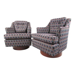 Pair Vintage Modern Swivel Chairs For Sale