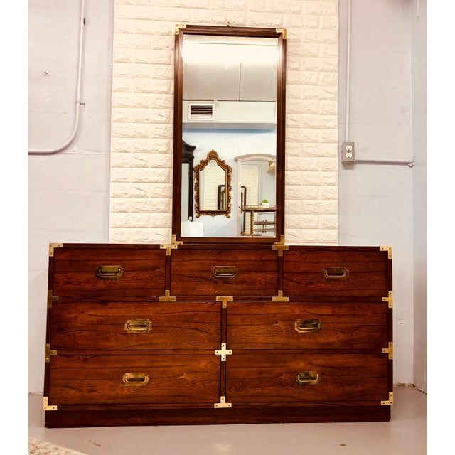 Vintage Bernhardt Campaign Chest of Drawers With Mirror For Sale - Image 9 of 10