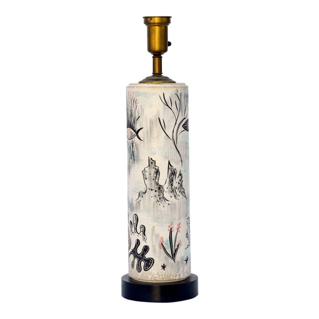 1940s Tye of California Hand Painted Cylinder Table Lamp For Sale
