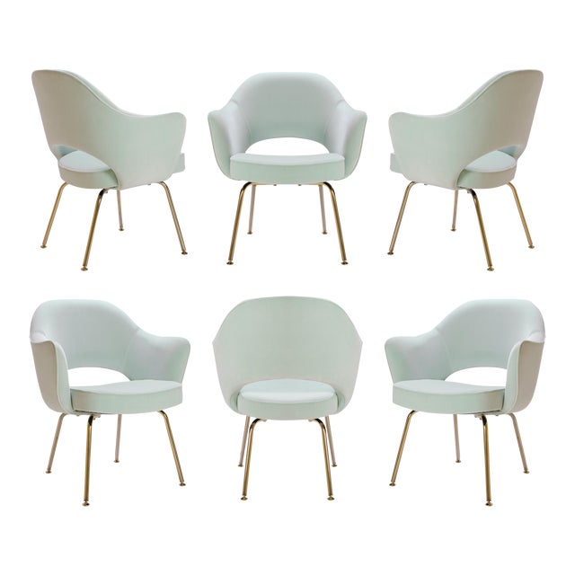 Saarinen Executive Arm Chairs in Mint Velvet, 24k Gold Edition - Set of 6 - Image 1 of 10