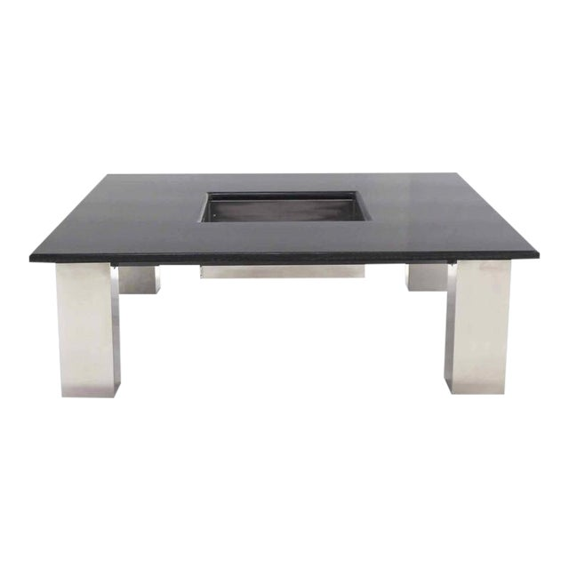 Mid-Century Modern Square Granite Top Coffee Table For Sale