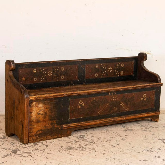 Antique Original Blue Painted Bench With Storage For Sale - Image 10 of 10