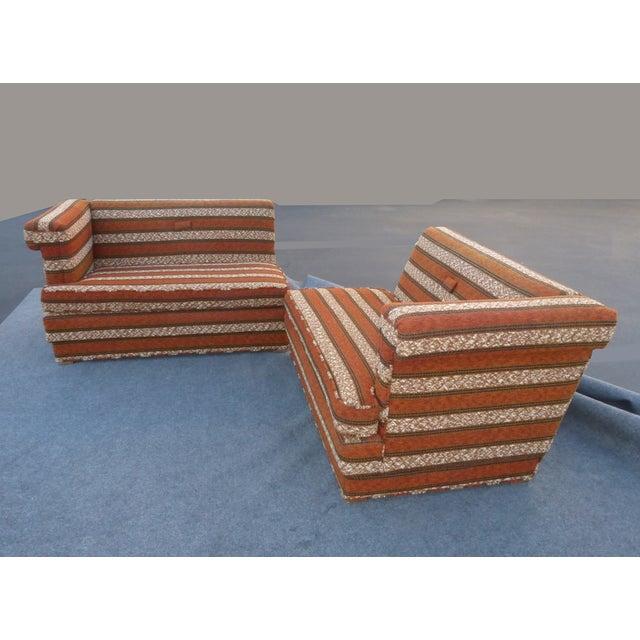 Mid-Century Modern Orange Stripped Sofa - Image 6 of 10