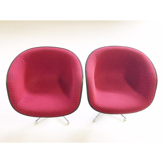 Red 1961 Charles and Ray Eames for Herman Miller La Fonda Chairs With Sheepskins - Pair For Sale - Image 8 of 11
