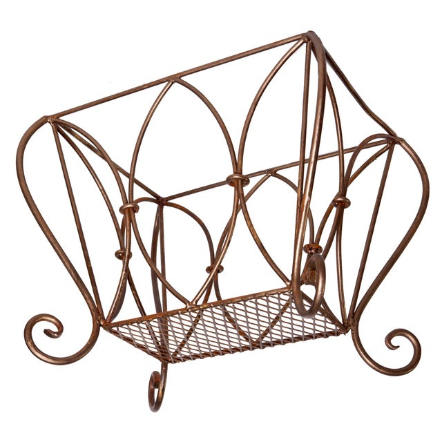 Art Deco Vintage Bronze Tones Wrought Iron Gold Magazine Stand. For Sale - Image 3 of 4