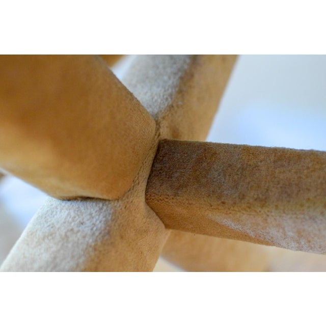 """Vintage Mid Century Tan Mohair """"X"""" Benches- A Pair For Sale - Image 11 of 12"""