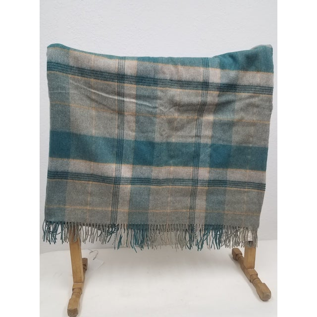 English Merino Wool Throw Light Aqua Blues Grey Plaid - Made in England For Sale - Image 3 of 9