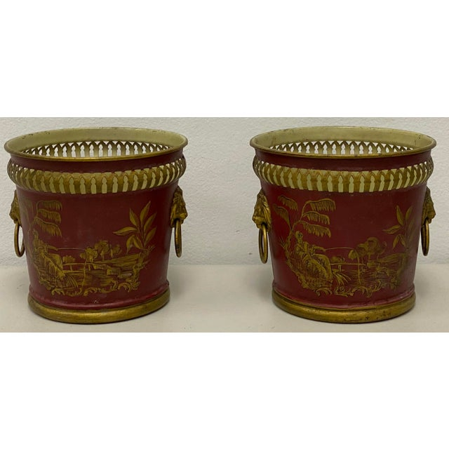 Pair of Signed French Tole Chinoiserie Cachepots / Planters For Sale - Image 4 of 8