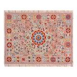 Image of Vintage Turkish Uzbeki Silk on Silk Suzani Ivory Floral Textile- 5'x6'2″ For Sale