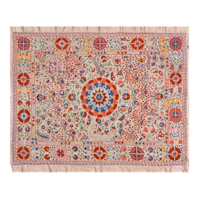Vintage Turkish Uzbeki Silk on Silk Suzani Ivory Floral Textile- 5'x6'2″ For Sale