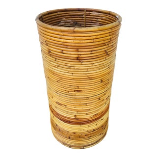 Vintage Pencil Reed Rattan Container/Bin For Sale