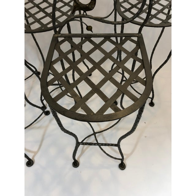 Black 1980s Vintage Giacometti Style Whimsical Hand Forged Iron Counter Stools - Set of 5 For Sale - Image 8 of 11
