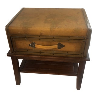 Vintage Maitland Smith Style Trompe L'Oeil Leather Covered Side Table For Sale