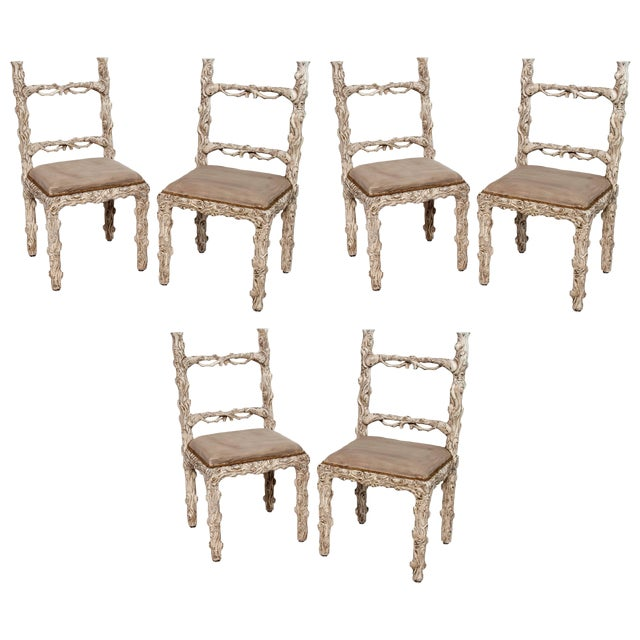 Set of Six Carved White Painted Wooden Chairs With a Faux Tree Trunk Design For Sale