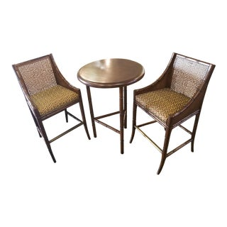 Palecek Bamboo Pub Table and Chairs Set For Sale