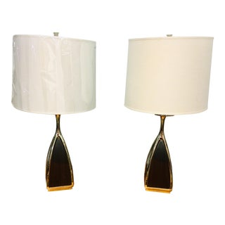 Pair Robert Abbey Trigger Table Lamps Chrome/Walnut For Sale