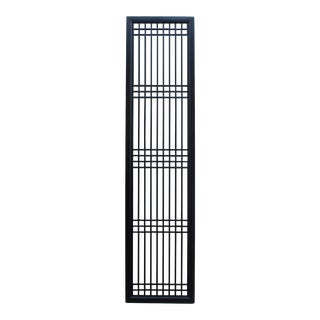 Tall Black Lacquer Wood Window Door Panel Partition Screen For Sale