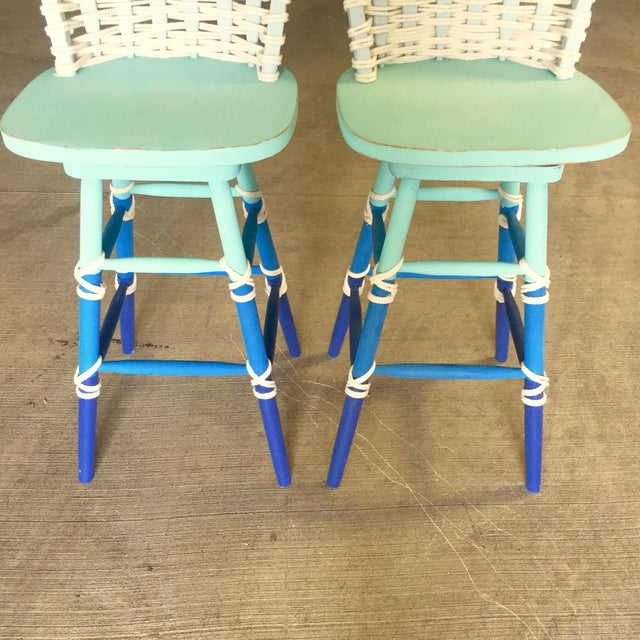 Nautical Wooden Bar Stools - A Pair - Image 6 of 8