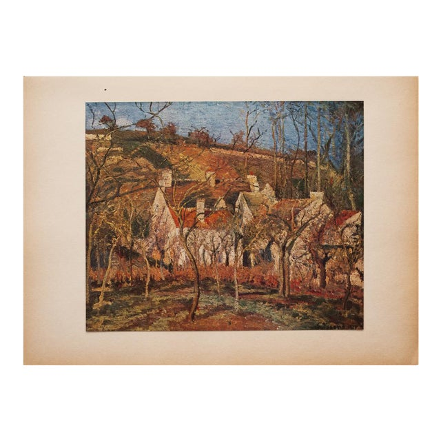 "1930s Camille Pissarro, Rare Original ""The Red Roofs in Pontoise"" Lithograph For Sale"