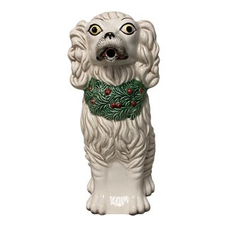 Fitz & Floyd Staffordshire Spaniel Dog Holiday Pitcher For Sale