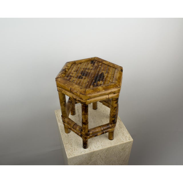 1970s Tortoise Bamboo Plant Stand Table For Sale - Image 5 of 8