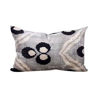 Kim Salmela Turkish Silk Velvet Grayscale Ikat Lumbar Pillow For Sale