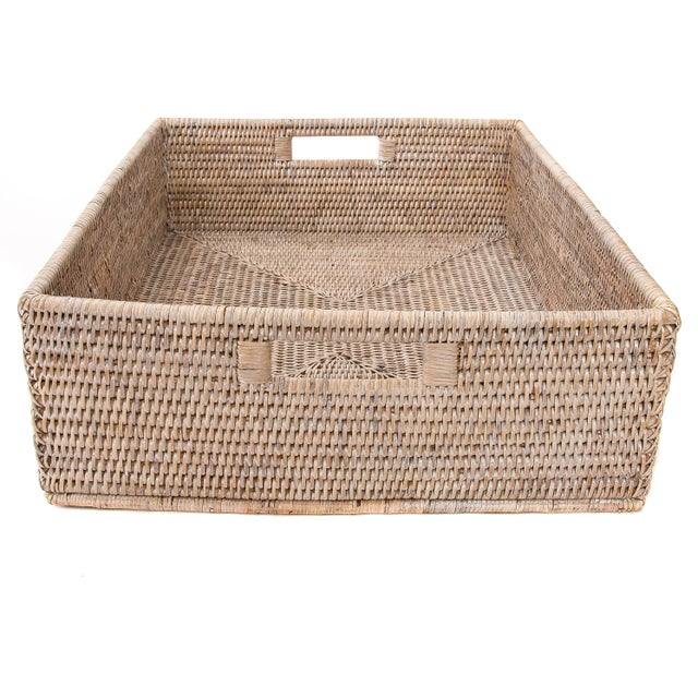 "Boho Chic Artifacts Rattan Rectangular Basket 20""x16""x6"" For Sale - Image 3 of 6"