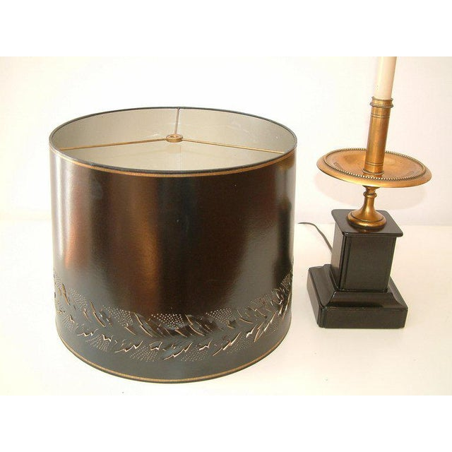 Circa 1950 Mid-Century attributed to Maison Jansen Bronze French Candle Table Lamp -1 For Sale - Image 4 of 9