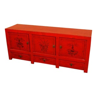 Red Lacquer Chinese Antique Sideboard For Sale