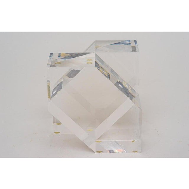Stylish 1980s Geometric form lucite sculpture.