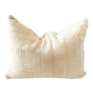 Mud Cloth Bogolan Solid Black & Off White Lumbar Pillow African Mali. For Sale