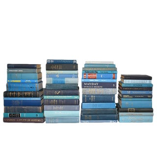 Cook Collection of Decorative Blue Antique Bookshelf Books - Set of 47 For Sale