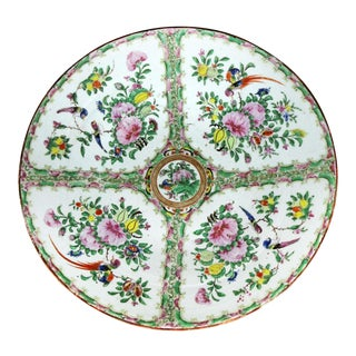 Large Antique Chinese Qing Rose Medallion Porcelain Charger or Platter Birds and Floral For Sale
