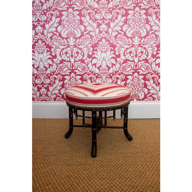 Newly upholstered in a Casa Branca red and white stripe France, Ca. 1880