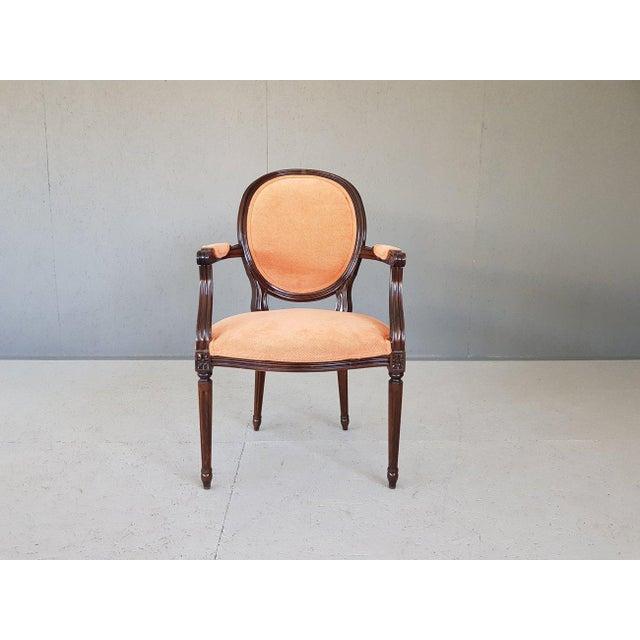 Louis XVI Velvet Upholstery Arm Chair For Sale - Image 13 of 13