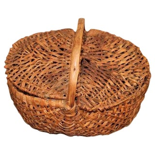 19th Century Splint Oak Pennsylvania Lidded Buttocks Basket
