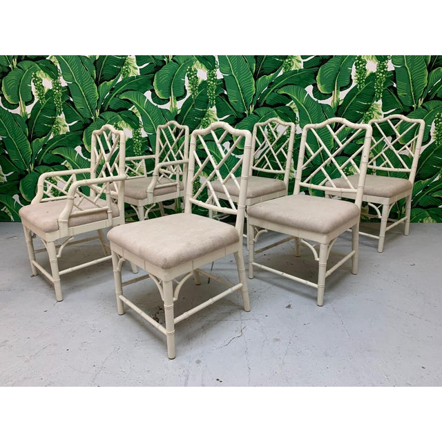 Faux Bamboo Chinese Chippendale Dining Chairs Set of 6 For Sale - Image 9 of 9