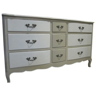 French Country Refinished Two Tone Gray Dresser