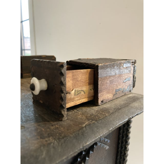 Antique Tramp Art Box With Drawers For Sale - Image 4 of 7