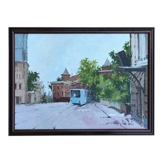 Modern Russia Cityscape Streetcar Trolley Acrylic Painting on Canvas Framed For Sale