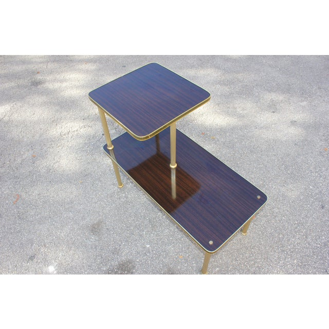 Art Deco 1940s Art Deco Mahogany and Brass Gueridon Side Table For Sale - Image 3 of 13
