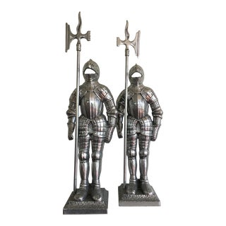 Vintage Aluminum Knight Statues - a Pair
