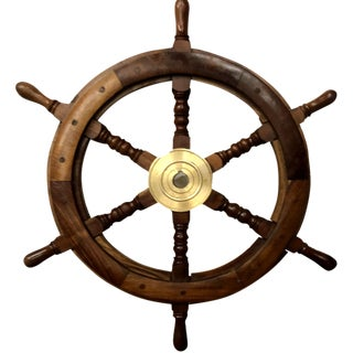 1960s Vintage Nautical Maritime Boat Ships Wheel For Sale