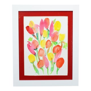 """""""You Don't Bring Me Flowers"""" Contemporary Abstract Floral Watercolor Painting by Dana Quist, Framed For Sale"""