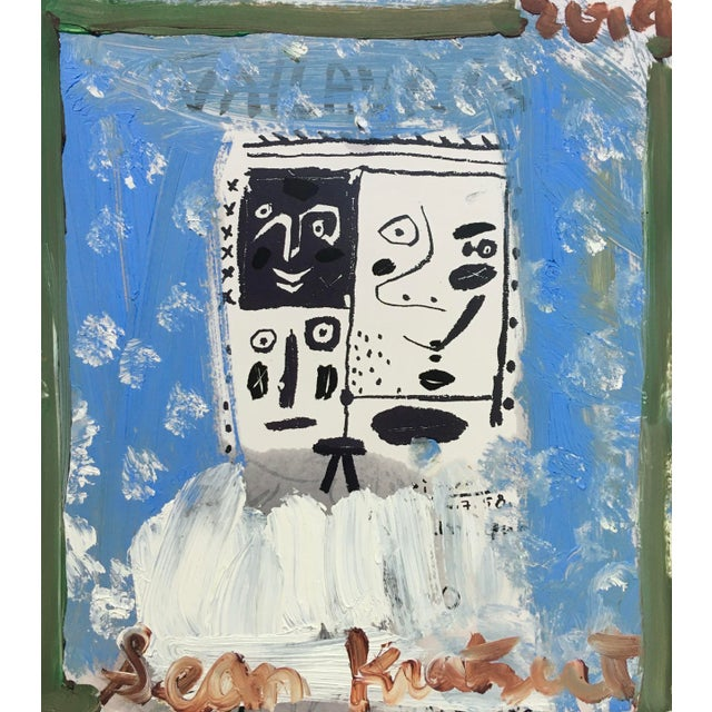 Abstract 'Blue Boy' Framed Picasso Poster Painting by Sean Kratzert For Sale - Image 3 of 3