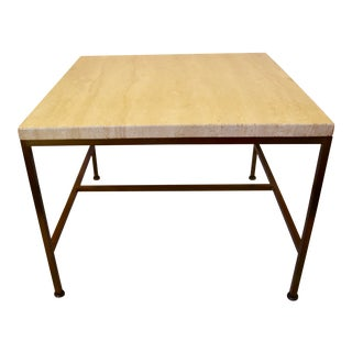 1950s Travertine Marble Top Brass End Table by Paul McCobb For Sale