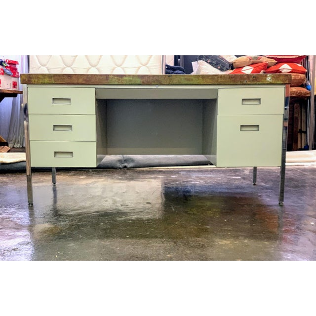 Metal Vintage Allsteel Executive Tanker Desk With Custom Stained Concrete Top in Warm Tones For Sale - Image 7 of 7