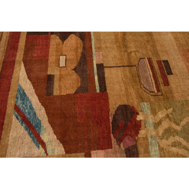 Tan Vintage Art Deco Style Square Wool Rug For Sale - Image 8 of 13