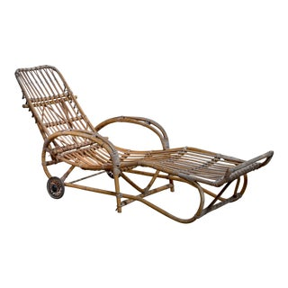 Adjustable Bamboo Garden Chaise, Germany, 1930s For Sale
