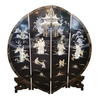 Chinoiserie Black Round Screen with Mother of Pearl & Bone Inlay